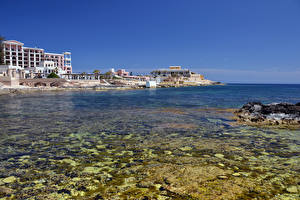 Картинки Мальта Здания Берег Море город