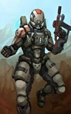 Картинки Mass Effect Автоматы Воители Доспехи Фэнтези