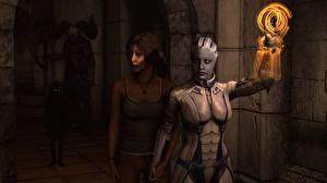 Картинка Mass Effect Tomb Raider Liara Лара Крофт Двое Инопланетяне Фэнтези Девушки