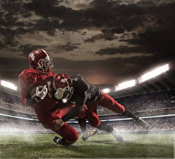 Картинка Мужчины Американский футбол Двое Шлем Униформа Спорт