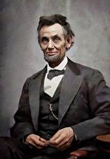 Картинка Мужчины Рисованные Костюм Борода Abraham Lincoln Знаменитости