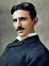 Картинка Мужчины Рисованные Красивые Nikola Tesla Знаменитости