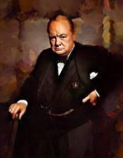 Обои Мужчины Рисованные Winston Churchill Знаменитости