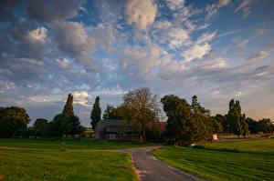 Фото Нидерланды Дома Поля Небо Облака Природа