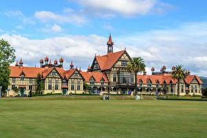 Фото Новая Зеландия Здания Газон Rotorua Museum Города