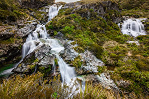 Фото Новая Зеландия Водопады Камни Мох Routeburn Falls