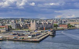 Фотографии Норвегия Здания Реки Пирсы Небо Oslo Harbor