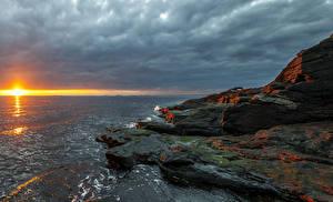 Фотография Норвегия Рассветы и закаты Берег Небо Камни Солнце Rogaland