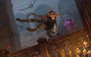 Фото Совы Прыжок Книга Библиотека Thief Фэнтези Девушки