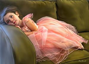 Картинки Рисованные Диване Платье Девочка Balerina ребёнок