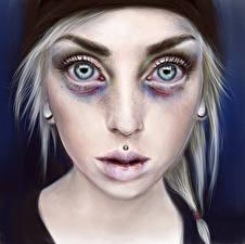 Картинки Рисованные Лицо Взгляд Страшные страшные Девушки