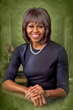 Обои Рисованные Негр Улыбка First lady Michelle Obama Знаменитости Девушки