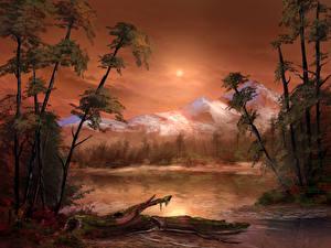 Картинка Рисованные Озеро Горы Пейзаж Деревья Природа