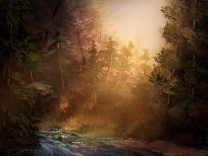Обои Рисованные Деревья Ручей Природа