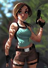 Картинки Пистолетом Tomb Raider Лара Крофт Игры Девушки