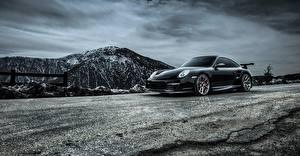 Фотография Porsche Черный 2015 Carrera 911 Turbo Машины