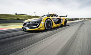 Обои Рено Едущий Желтые 2014 RS 01 автомобиль