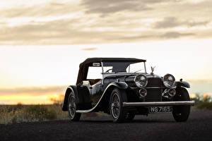 Картинки Ретро Черный Металлик 1934 Alvis Speed 20 SB Tourer by Cross Автомобили