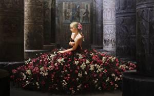 Картинка Розы Платье Фэнтези Девушки