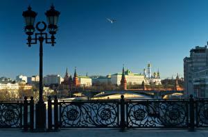 Фото Москва Россия Московский Кремль Фонарь Забор