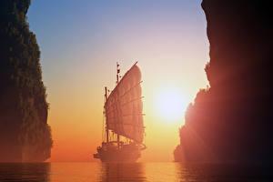 Фото Парусные Корабли Рассветы и закаты Море