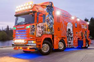 Обои Сканиа Грузовики Стайлинг Оранжевый 2016 R730 Highline  Terminator Автомобили