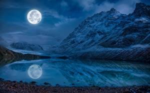 Фото Пейзаж Горы Озеро Луна Ночные Отражение Природа