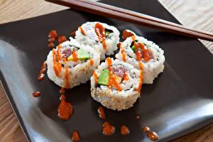 Фотография Морепродукты Суши Кетчуп Еда