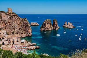 Фотографии Сицилия Италия Побережье Дома Лодки Море Скала Scopello Природа