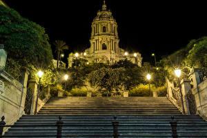 Фотография Сицилия Италия Храмы Ночные Лестница Уличные фонари Modica Города