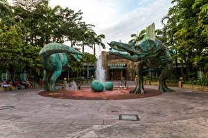 Фотографии Сингапур Парки Скульптуры Динозавры Фонтаны Gardens by the Bay Природа