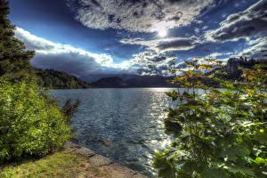 Обои Словения Пейзаж Озеро Небо Облака Солнце HDR Природа