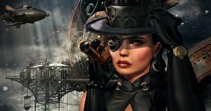 Фотография Паропанк Шляпа Повязка на глаз 3D Графика Девушки