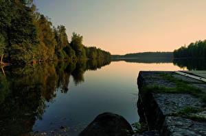 Картинки Швеция Леса Реки Вечер Boras Vastra Gotaland Природа