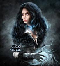 Фотография The Witcher 3: Wild Hunt Волшебство Брюнетка Волосы Yennefer Игры Девушки Фэнтези