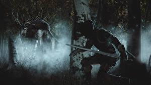 Картинка The Witcher 3: Wild Hunt Монстры Геральт из Ривии Ночь Мечи Охота Игры