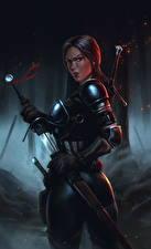 Фотография The Witcher 3: Wild Hunt Воители Броня Мечи Девушки Фэнтези