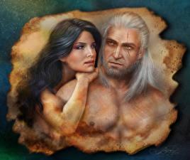 Картинка The Witcher Мужчины Геральт из Ривии Двое Yennefer Девушки