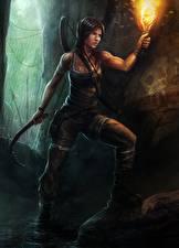 Обои Tomb Raider 2013 Лара Крофт Факела Игры Девушки