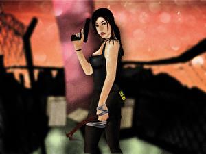 Фотография Tomb Raider 2013 Пистолеты Лара Крофт компьютерная игра Девушки