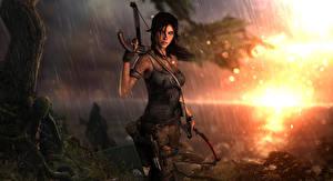 Картинки Tomb Raider 2013 Дождь Лара Крофт Мокрые Игры Девушки