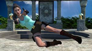 Фотографии Tomb Raider Пистолетом Прыгает Лара Крофт 3D_Графика Девушки