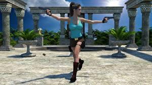 Картинки Tomb Raider Пистолеты Лара Крофт Девушки 3D_Графика