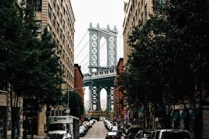 Картинка США Мосты Нью-Йорк Улица Brooklyn Bridge Города