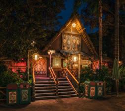 Фотографии Штаты Диснейленд Парки Дома Калифорния Анахайм Дизайн HDRI Ночь Лестница Уличные фонари