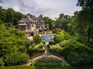 Обои США Дома Особняк Дизайн Бассейны Кусты Деревья Лестница Conyers Farm Greenwich