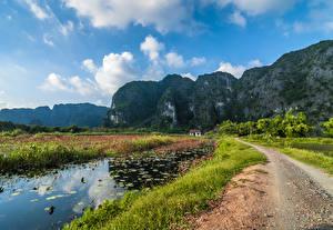 Картинки Вьетнам Горы Дороги Озеро Пейзаж Скала Природа