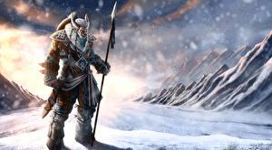 Картинки Воины Копья Снег Рога Инопланетяне The Celtic Guardian Фантастика