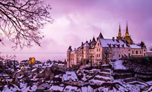 Фотография Зимние Швейцария Замок Снегу Neuchatel Castle город