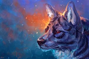 Обои Волки Рисованные Вблизи Голова Животные